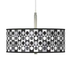 "Black and Grey Dotted Squares Giclee 16"" Wide Pendant Light"