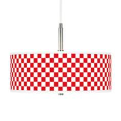 Checkered Red Giclee Pendant Chandelier