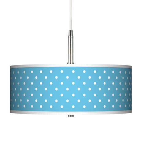 Mini Dots Aqua Giclee Brushed Steel Contemporary Pendant Light
