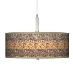 "Woven Fundamentals Giclee Brushed Nickel 16"" Wide Pendant"