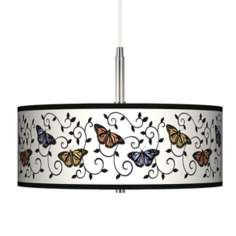 Marla Butterfly Scroll Giclee Pendant Chandelier