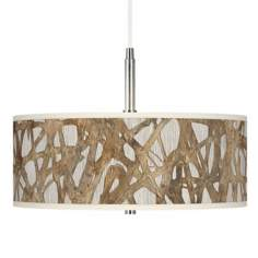 Organic Nest Giclee Brushed Nickel Pendant Chandelier