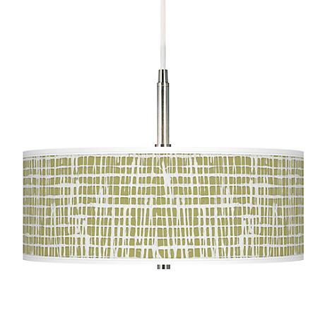 Ecru Screen Linen Giclee Pendant Chandelier