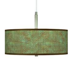 "Interweave Patina Shade 16"" Wide Pendant Chandelier"