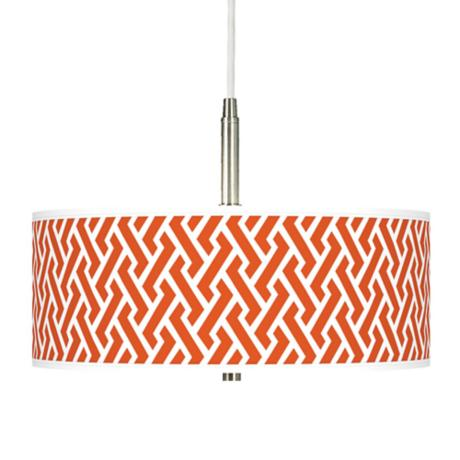 Red Brick Weave Giclee Pendant Chandelier