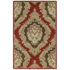 Monicaro Salsa III Red and Black Wool Area Rug