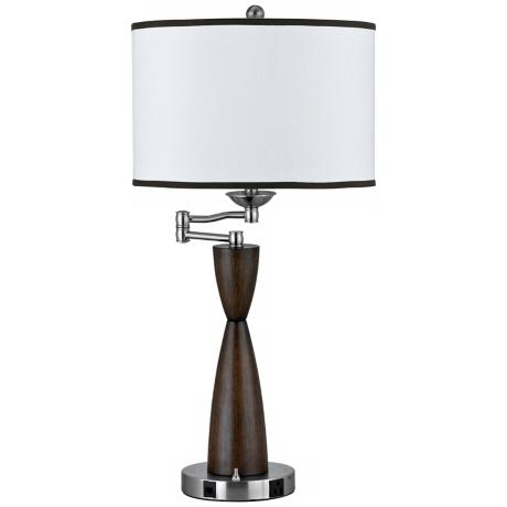 Connection Power Outlet Swing Arm Desk Lamp