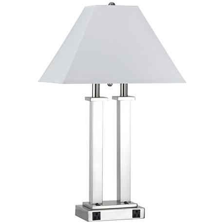 Rio Brushed Steel Desk Lamp with Power Outlets