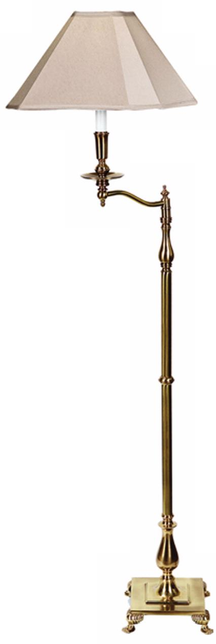 Charlotte I Antique Brass Swingarm Floor Lamp (H0282)
