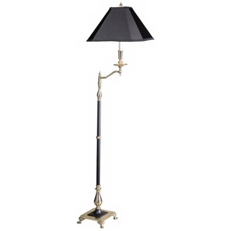 Charlotte II Black and Antique Brass Swingarm Floor Lamp