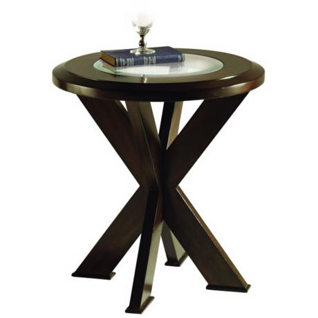 Roxboto Round Walnut End Table