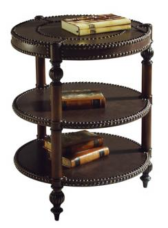 Leather Round End Table