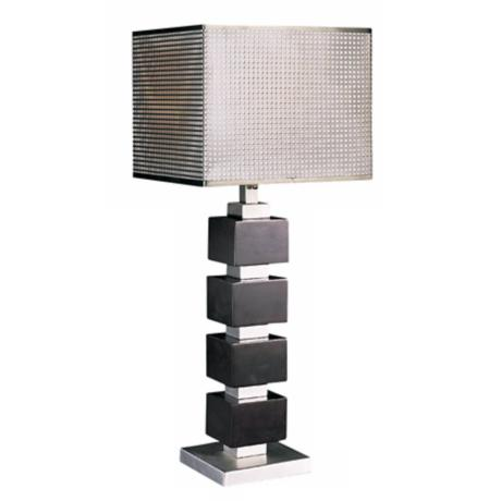 Chrome Screen Cappuccino Wood Cube Table Lamp