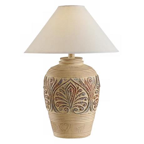 Southwest Tan Leaf Design Table Lamp H1301 Www