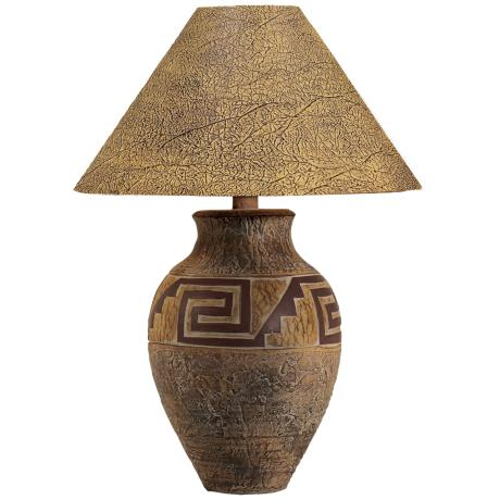 Southwest Pattern Paprika Shade Table Lamp