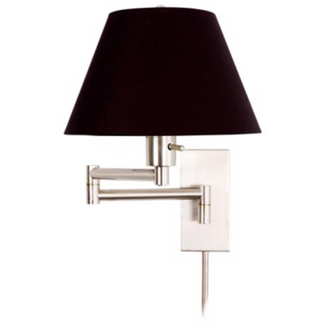 Monroe II Black Shade Plug-In Swing Arm Wall Light