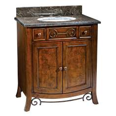 Burled Walnut Marble and Porcelain Bath Vanity
