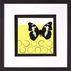 "White Spots Butterfly Under Glass 20"" Square Yellow Wall Art"