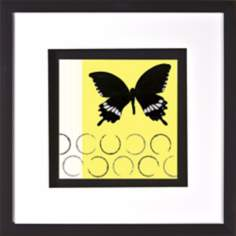 "Butterfly on Yellow Print Under Glass 20"" Square Wall Art"