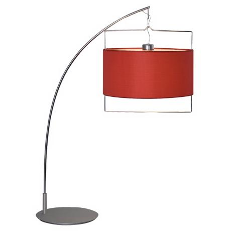 Passion Arc Chrome and Red Contemporary Desk Lamp