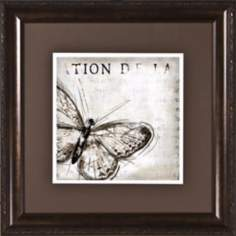 "Butterfly Renderings I Under Glass 19 1/2"" Square Wall Art"