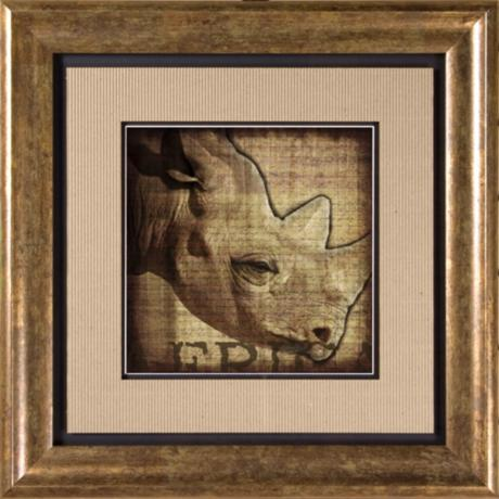 "Rhino Print Under Glass 20 1/2"" Square Wall Art"