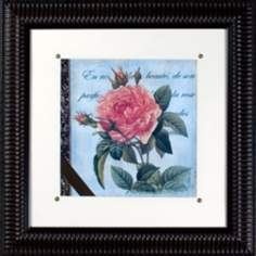 "Vintage Rose I Print Under Glass 21"" Square Wall Art"