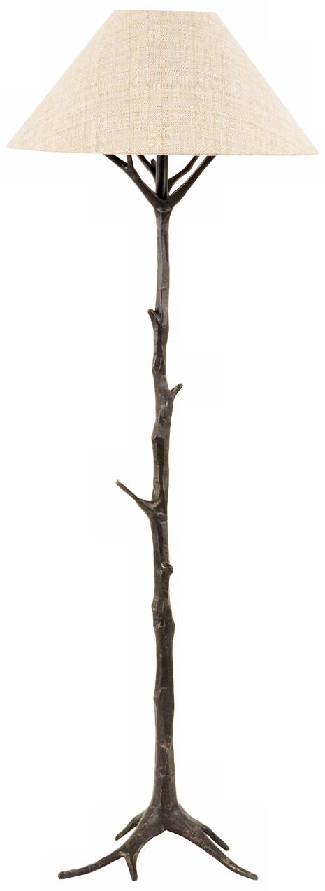 Frederick Cooper Raffia Shade Bronze Branch Base Floor Lamp (H1937)