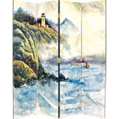 High Sea Hand-Painted Four Panel Room Divider Screen