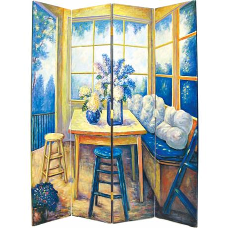 Sunny Hand-Painted Room Divider Screen