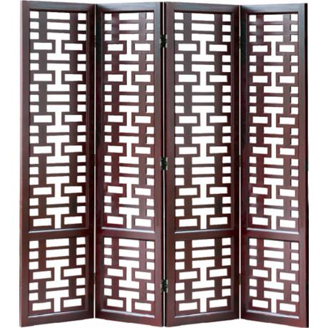 Double Happiness Wood Room Divider Screen