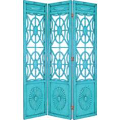 Turquoise Blue Spider Web Room Screen