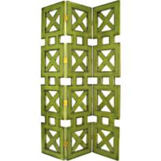 Hunter Lime Finish Three Panel Screen