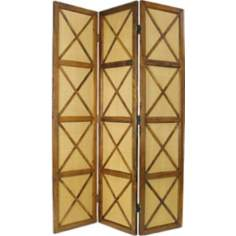 South Sea Three-Panel Light Brown Screen