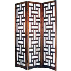 Sri Lanka Mahogany 3-Panel Wood Room Divider Screen