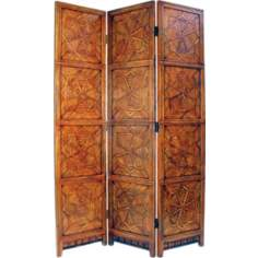 Congo Brown Wood and Bamboo Room Divider Screen