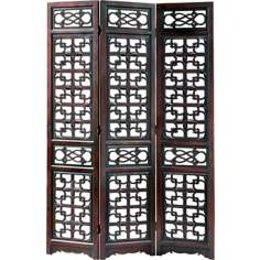 West Lake Mahogany 3-Panel Wood Room Divider Screen