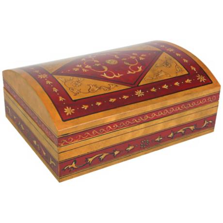 Hand-Painted Red and Taupe Lacquered Box