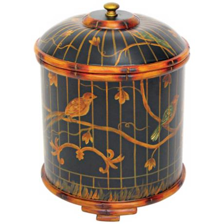 Hand-Painted Bamboo Birdcage Box