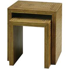 Set of Two Bamboo Parquet Nest Tables