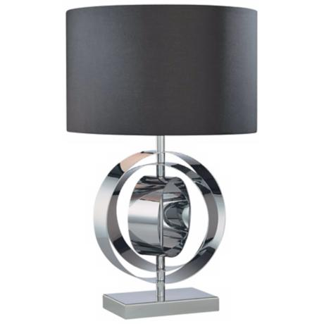 George Kovacs Chrome Circle Black Shade Table Lamp