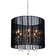 "Artcraft Claremont Black 25 1/4"" Wide Nickel Chandelier"
