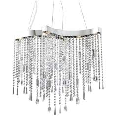Crystal Strand Chrome 8-Light Halogen Chandelier