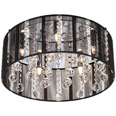 "Possini Black Thread Crystal Halogen 15"" Wide Ceiling Light"