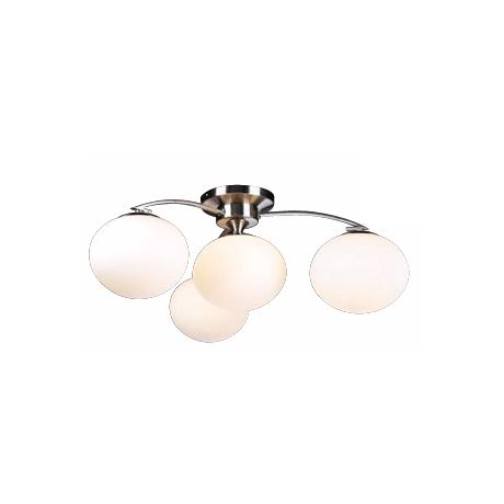 "Opal Glass and Satin Nickel 29"" Wide Ceiling Light Fixture"