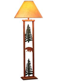 Cedar Ridge Pine Tree and Bear Rectangular Floor Lamp