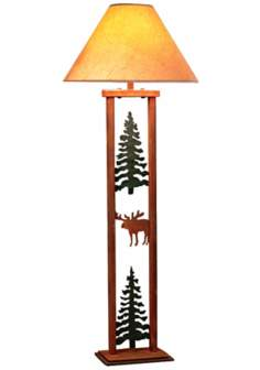 Cedar Ridge Pine Tree and Moose Rectangular Floor Lamp