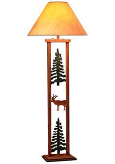 Cedar Ridge Rectangular Pine Tree and Elk Floor Lamp