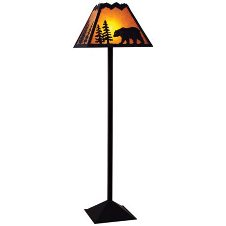 Mountain with Bear Mica Shade Floor Lamp