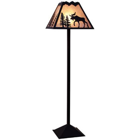 Mountain with Moose Mica Shade Floor Lamp